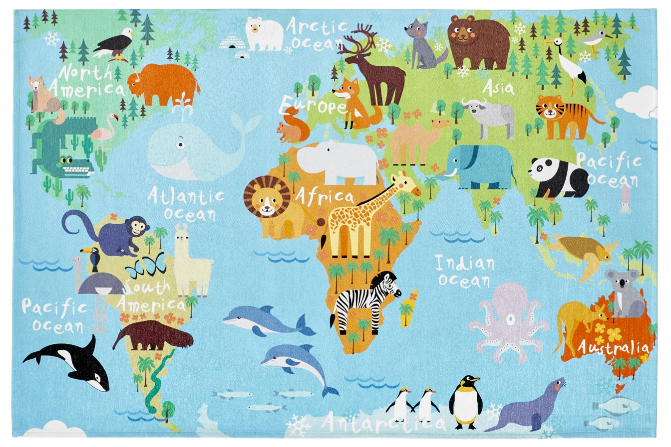 Dywan Obsession Torino Kids TOK 233 World Map
