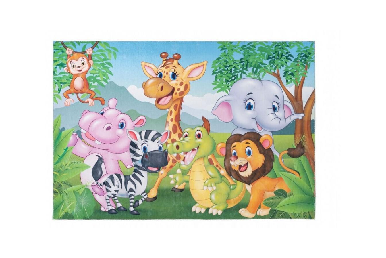 Piękne kolorowe, przyjazne zwierzaki, dywan dziecięcy 239 Jungle