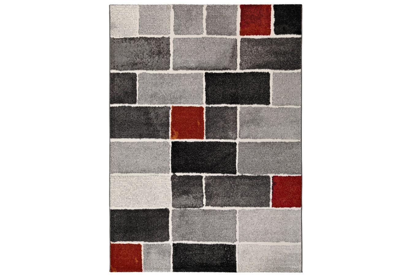 Modne Geometryczne Panele Szaro-Czerwony Dywan Universal Lucy 25004 14 Gris
