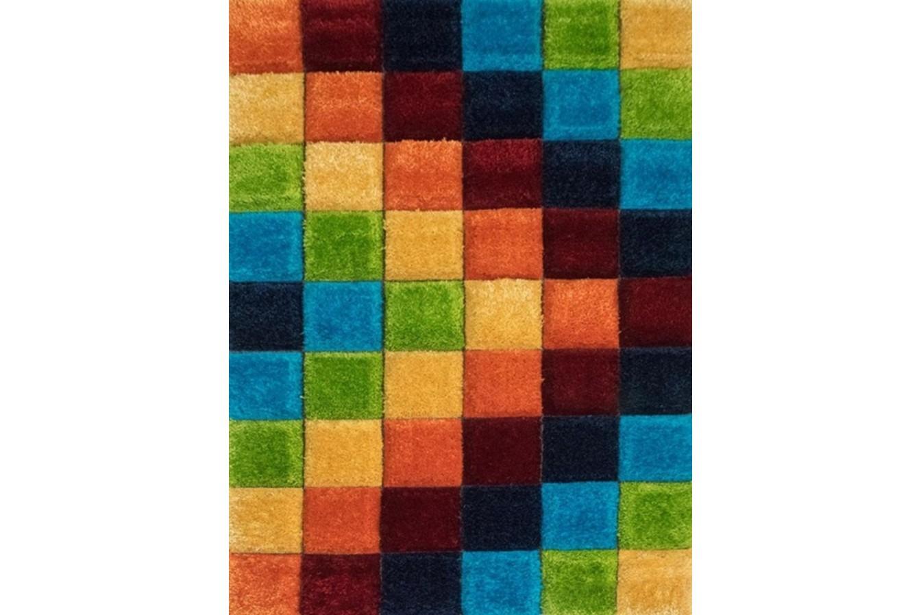 Kolorowy Nowoczesny Puszysty Dywan Shaggy California P548 Dark Blue Orange